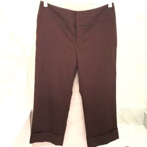 Mossimo Brown PinStripe Stretch Capris W/Pockets
